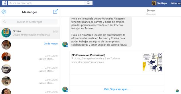 chatbot Driveo para Facebook